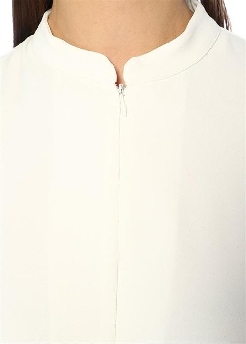 Beyaz Fermuar Detaylı Midi Krep Elbise