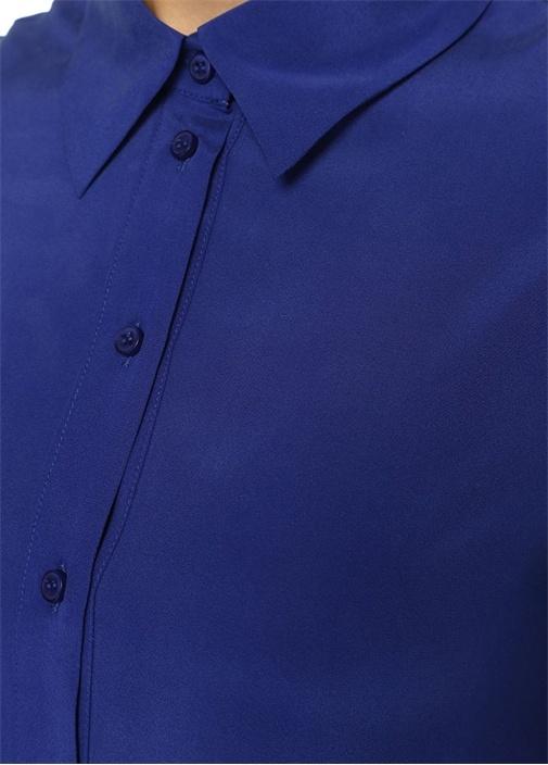 Mavi Kuşaklı Kısa Kol Mini İpek Gömlek Elbise