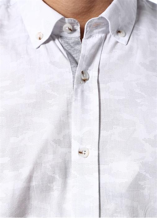 Slim Fit Beyaz Çizgisel Kamuflaj Baskılı Gömlek