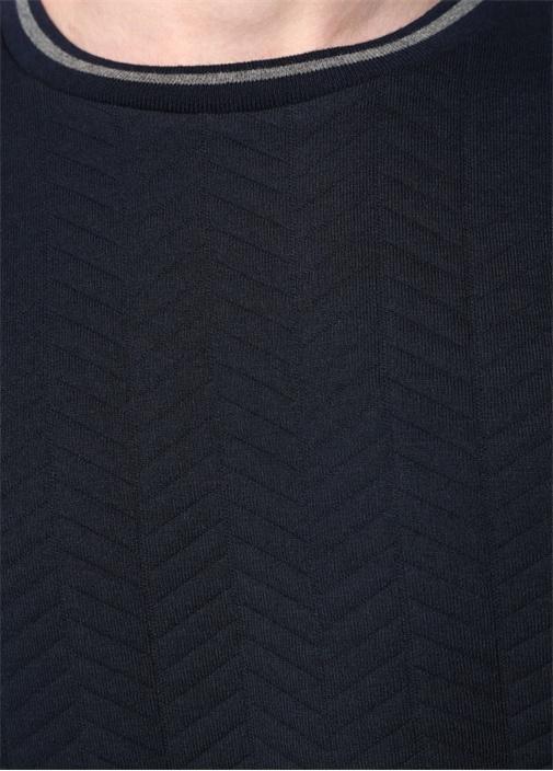 Siyah Bisiklet Yaka Kabartmalı Dokulu Sweatshirt