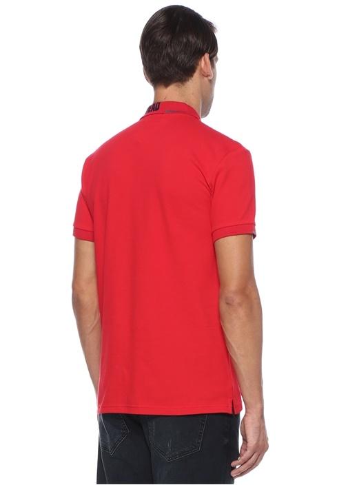 Slim Fit Kırmızı Polo Yaka Slogan Baskılı T-shirt