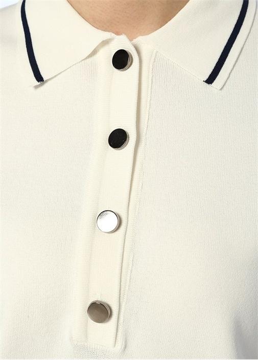 Beyaz Polo Yaka Kontrast Şeritli Kısa Kol Triko