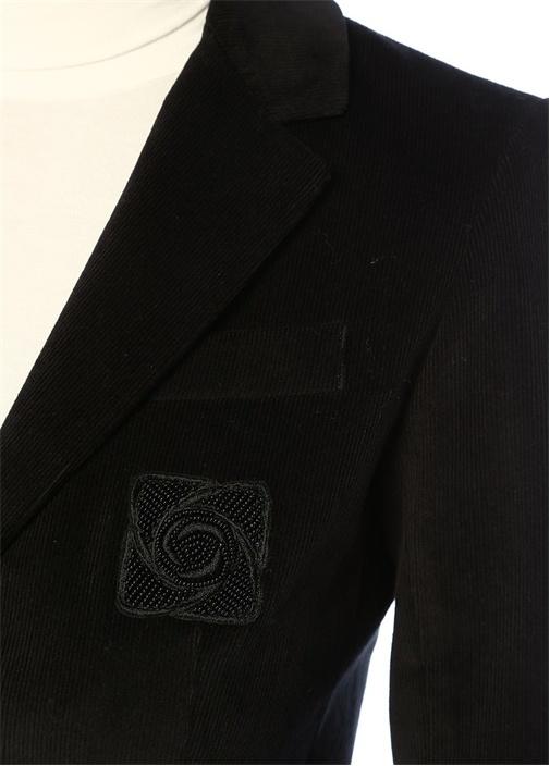 Siyah Kelebek Yaka Fitilli Kadife Ceket