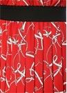 Kırmızı Zincir Desenli Pilili Midi Krep Etek