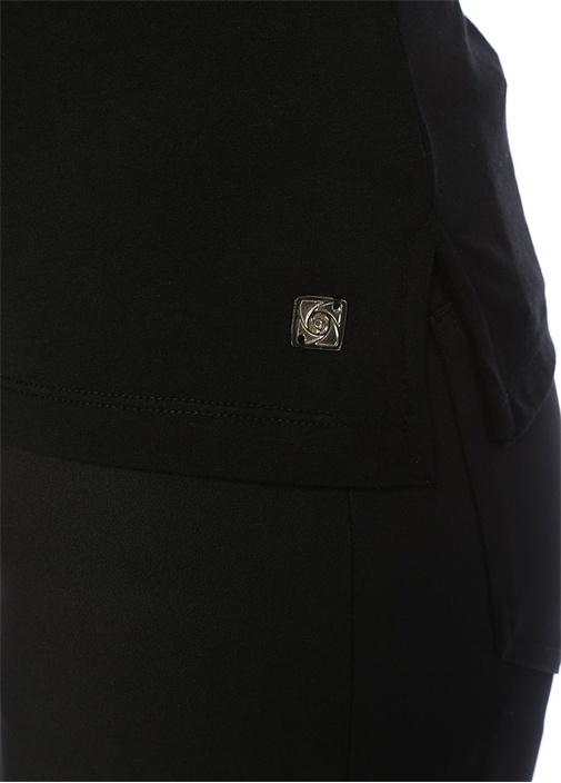 Siyah Bisiklet Yaka Triko Dokulu Basic T-shirt
