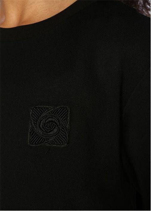Siyah Dantel Garnili Pileli Kısa Kol Midi Elbise