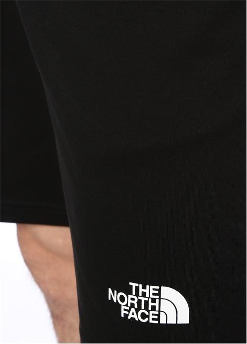 Siyah Beyaz Logo Baskılı Şort