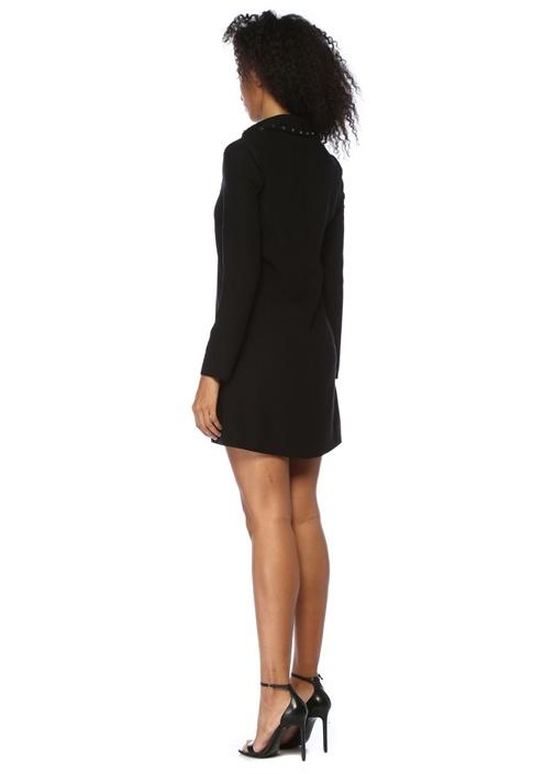 Siyah Yıldız Troklu Fermuarlı Mini Gömlek Elbise