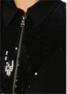 Siyah İşleme Detaylı Midi Krep Gömlek Elbise