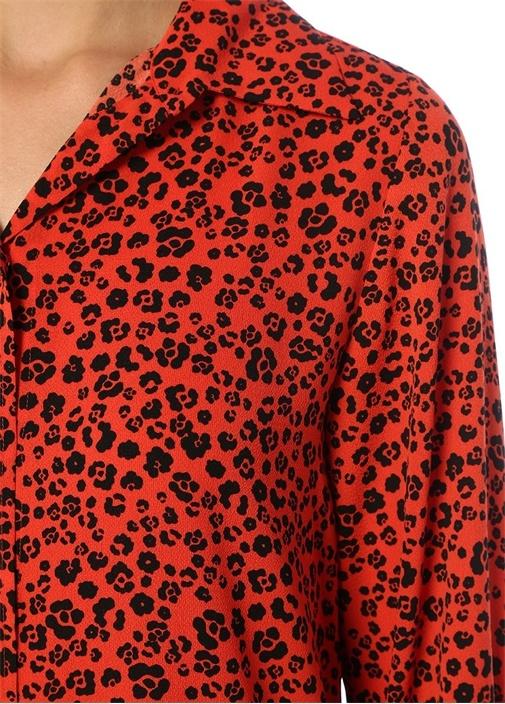 Kırmızı Leopar Desenli Mini Krep GömlekElbise