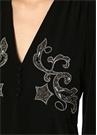 Siyah V Yaka Taş İşlemeli Mini Krep Elbise