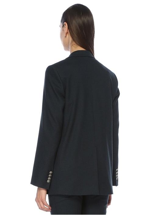 Mavi Kazayağı Desenli Tek Düğmeli Ceket