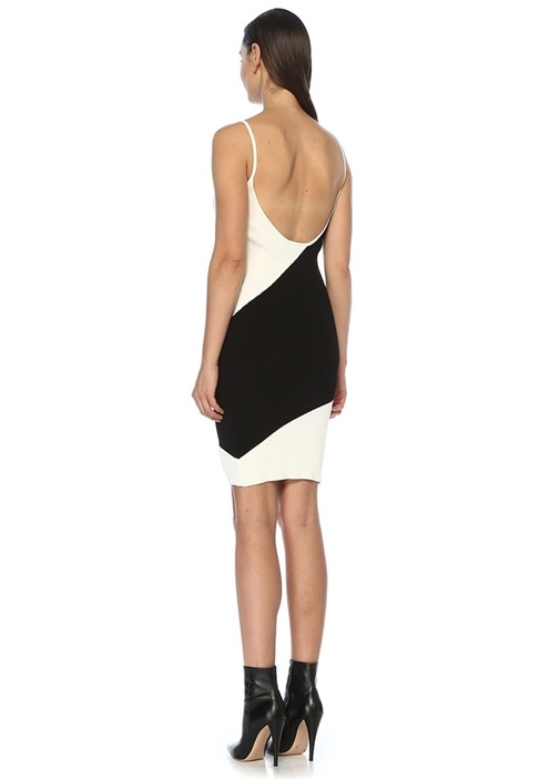 Siyah Beyaz Bloklu Mini Triko Elbise