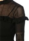Siyah Dik Yaka Fırfırlı Midi Dantel Triko Elbise