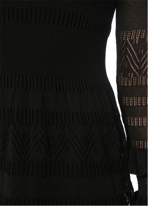 Siyah Dik Yaka Fırfırlı Mini Dantel Triko Elbise