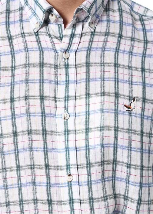 Comfort Beyaz Kareli Logolu Keten Gömlek