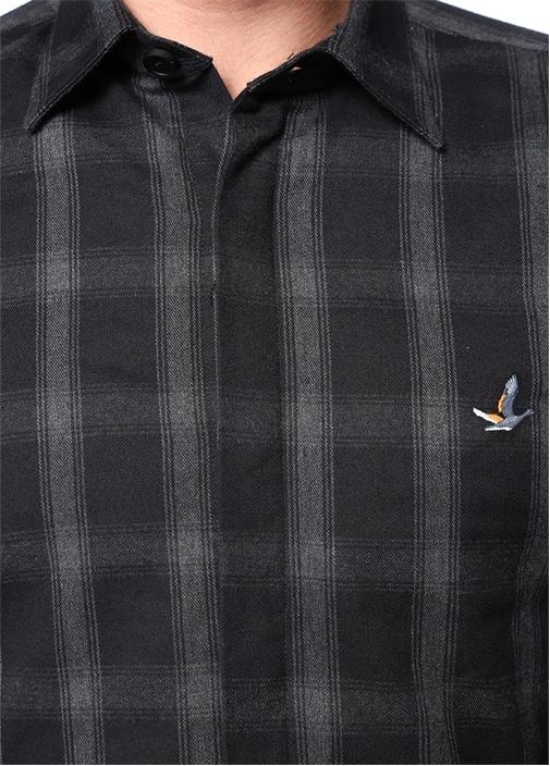 Antrasit Sivri Yaka Astarlı Kareli Gömlek