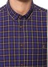 Slim Fit Mavi Düğmeli Yaka Ekose Desenli Gömlek