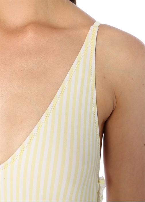 Sarı V Yaka Çizgili Sırtı Fırfır Detaylı Mayo