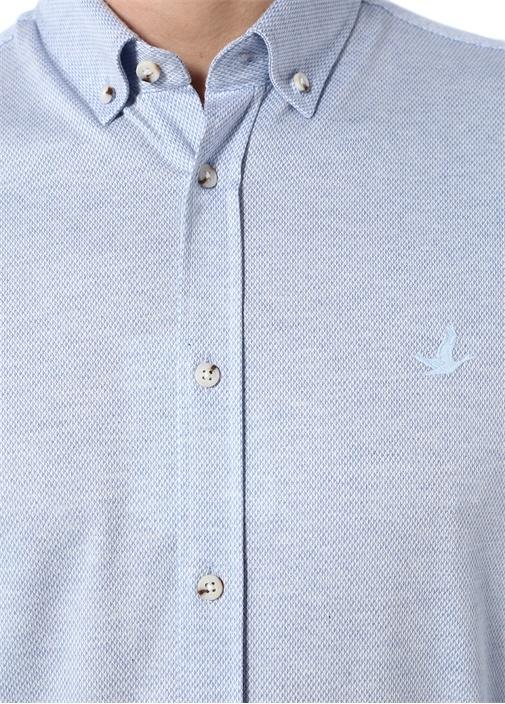 Slim Fit Mavi Düğmeli Yaka Baklava Desenli Gömlek