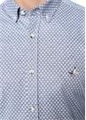 Slim Fit Mavi Düğmeli Yaka Çiçek Desenli Gömlek