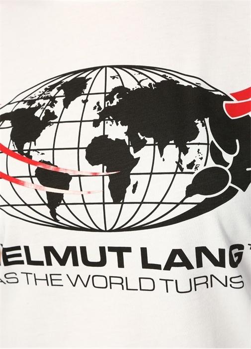 World Turns Beyaz Bisiklet Yaka BaskılıT-shirt