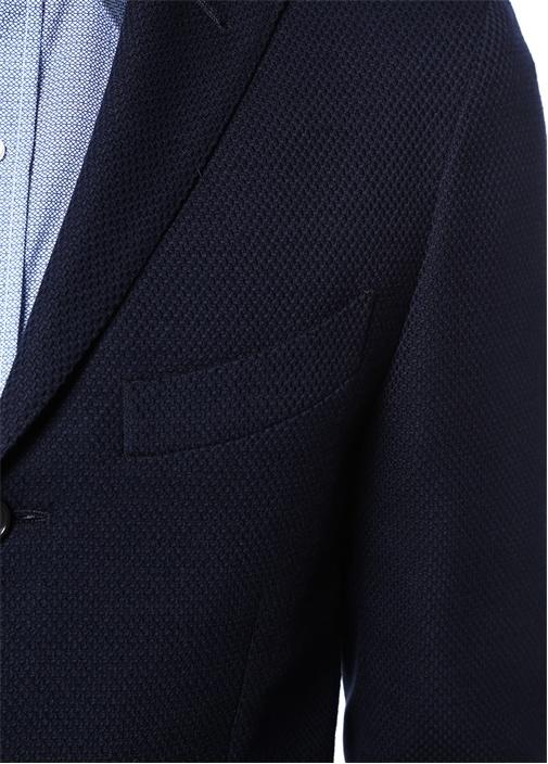 Drop 8 Lacivert Petek Dokulu Yün Soft Ceket
