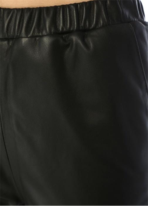 Siyah Havuç Kesim Deri Pantolon