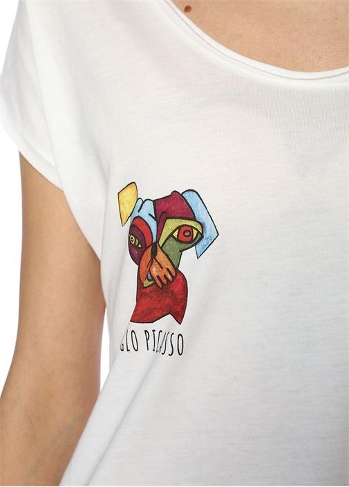 Picasso Beyaz Bisiklet Yaka Baskılı T-shirt
