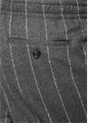 Drop 8 Gri Beli Kordonlu Çizgili Yün Pantolon