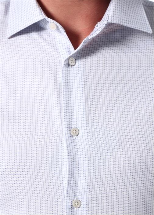 Custom Fit Mavi Modern Yaka Desenli Gömlek
