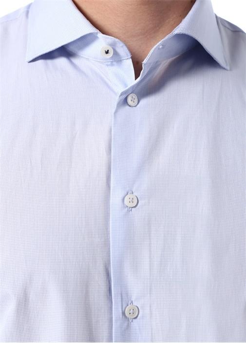 Slim Fit Mavi Yarı İtalyan Yaka DesenliGömlek