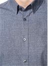 Custom Fit Alttan Britli Yaka Mikro Çiçekli Gömlek
