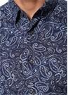 Custom Fit Alttan Britli Yaka Etnik Desenli Gömlek
