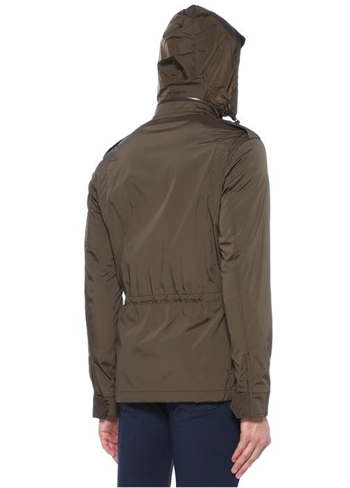 Haki Kapüşonlu Omuzu Apoletli Ceket