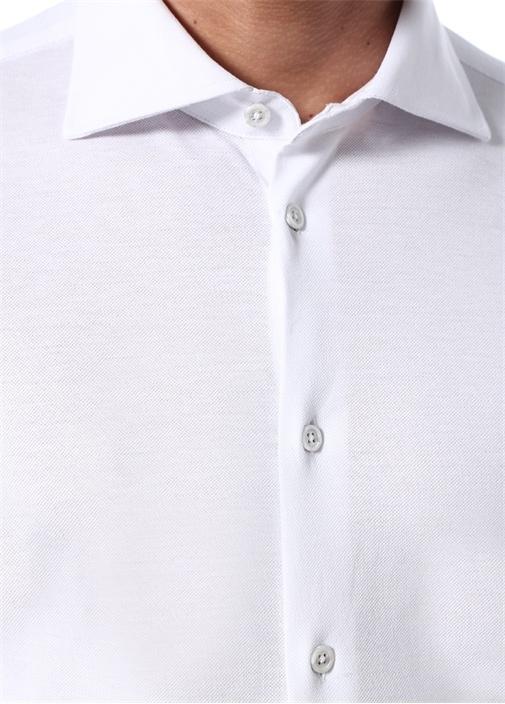 Suntory Beyaz İngiliz Yaka Dokulu Jersey Gömlek