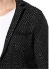 Siyah Zikzak Desenli Triko Blazer Ceket