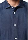 Fransız Yaka Kontrast Dikişli Denim Gömlek
