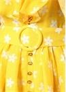 Sarı V Yaka Çiçekli Volanlı Kemerli Mini Elbise