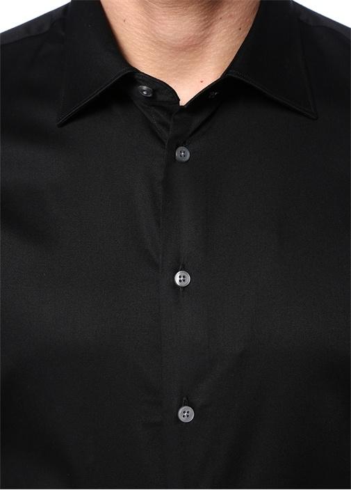 Slim Fit Siyah İngiliz Yaka Stretch Gömlek