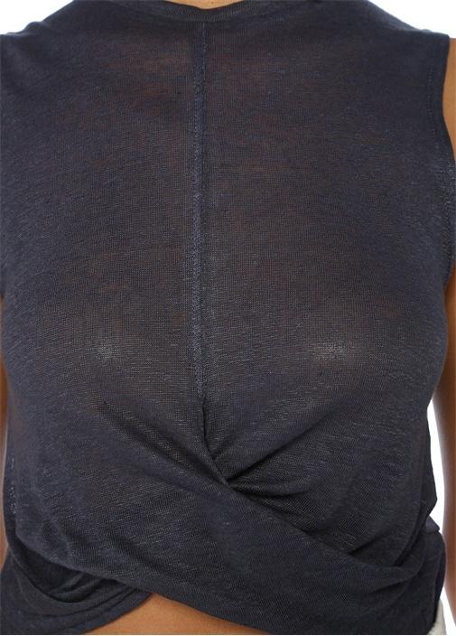 Minka Lacivert Drapeli Kolsuz Crop Keten Bluz