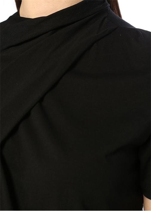 Alea Siyah Yakası Büzgü Detaylı T-shirt