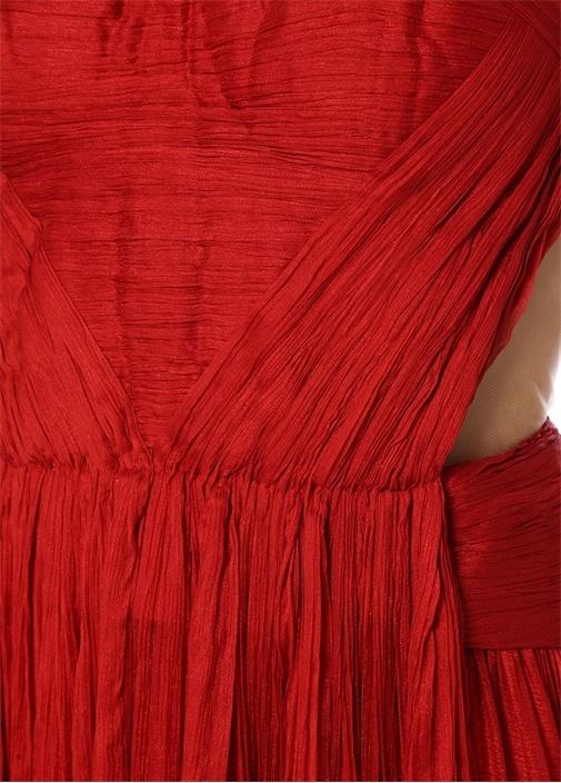 Allar Kırmızı Kalp Yaka Maksi İpek Abiye Elbise