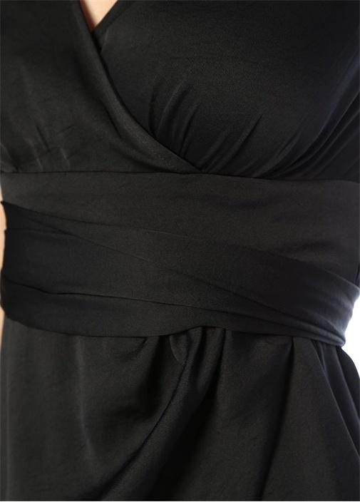 Sarai Siyah V Yaka Kuşaklı Midi AnvelopElbise