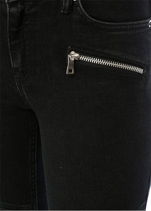 Biker Siyah Düşük Bel Crop Skinny Jean Pantolon