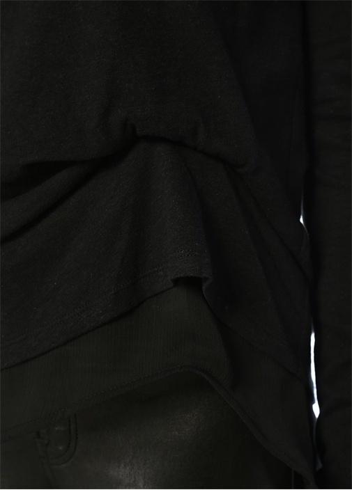 Bev Mira Siyah Büzgülü Tül Katlı Uzun Kol T-shirt