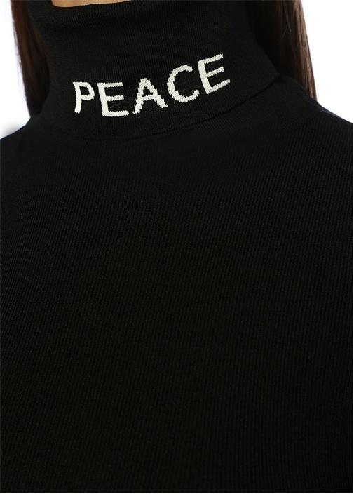 Peace Siyah Balıkçı Yaka Jakarlı Kazak