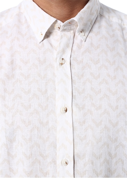 Comfort Fit Bej İkat Desenli Gömlek