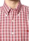 Kırmızı Düğmeli Yaka Kareli Kısa Kollu Gömlek