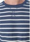 Lacivert Ekru Çizgili Bisiklet Yaka T-shirt